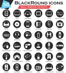 Vector Multimedia devices circle white black icon set. Ultra modern icon design for web.