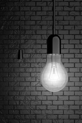 Light Bulb with Cord Switch. 3d Rendering