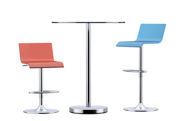 Colour Bar Vintage Stools with Table. 3d Rendering