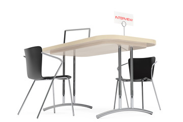 Wooden Table and Chairs for Interview. 3d Rendering