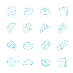 Thin lines icon set - bread and bakery