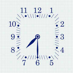 Clock face. Square shape. Seven thirty