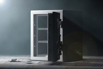 Steel Bank Safe. 3d Rendering