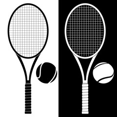 Tennis racket with ball. Black and white icon