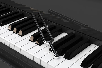 Tuning Fork on top of Piano Keys. 3d Rendering