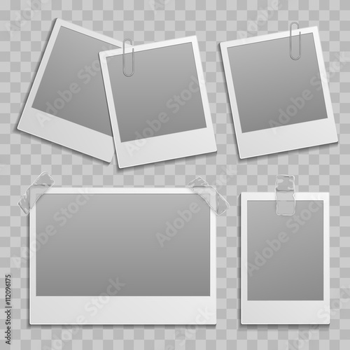 Vintage Photo Frame Different Size Template With Transparent Shadow