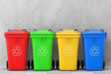 Multicoloured Garbage Trash Bins. 3d Rendering