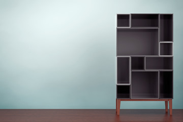 Old Style Photo. Modern Abstract Shelf. 3d rendering