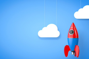 Toy Rocket with Clouds. 3d Rendering