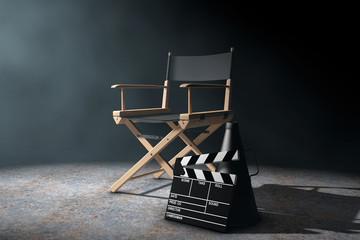 Fototapeta Director Chair, Movie Clapper and Megaphone in the volumetric li obraz
