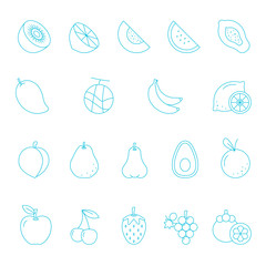 Thin lines icon set - fruit