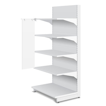 White Blank Empty Shelf Stopper Banner Showcase Displays With Retail Shelves Products 3D On White Background Isolated. Ready For Your Design. Product Packing. Vector EPS10