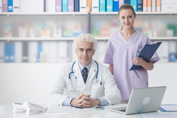 Medical staff working in the office