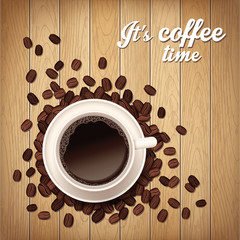 Background with coffee cup and coffee beans on wooden table