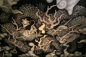 Twin Dragons painting at Kennin-ji Temple in Kyoto, Japan