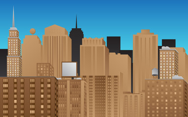 Cartoon cityscape.