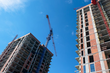 Construction crane and built house