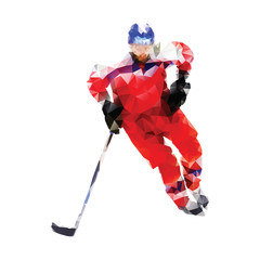 Polygonal ice hockey player. Abstract red vector geometrical hoc