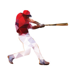 Abstract baseball player. Geometrical isolated silhouette. Baseb