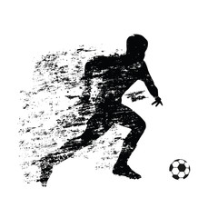 Abstract soccer player runs with ball. Grunge shadow behind a ru