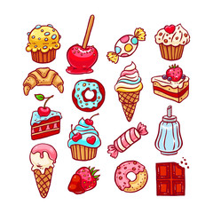 cute set of different desserts. hand-drawn illustration