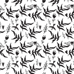 Black seamless pattern with weed flowers and birds
