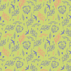Seamless pattern with weed, flowers and birds