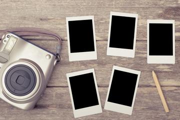 Photo frame,instant photo of polaroid camera - vintage and retro