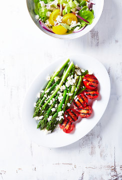 Grilled Asparagus and Cherry Tomatoes with Feta