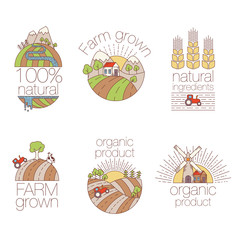 Set of outline art elements for labels and badges for organic food and drink. Set of farm logo labels. Organic, bio, ecology, eco natural design template. Vector illustration on white background