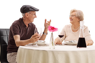 Elderly couple enjoying a romantic date