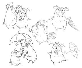 Illustration Set of Pigs .Coloring book