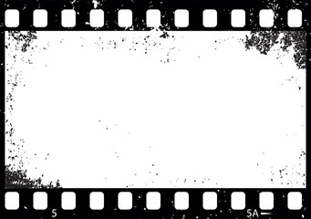Grunge black and white film frame, vector
