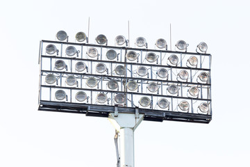 Stadium floodlight on white sky background