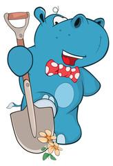 Illustration of Cute Hippo Gardener Cartoon Character