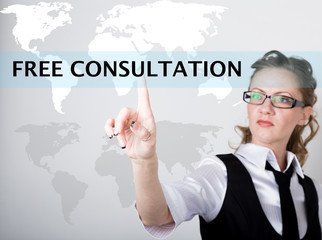 Free consultation written in search bar on virtual screen. Internet technologies in business and home. woman in business suit and tie, presses a finger on a virtual screen