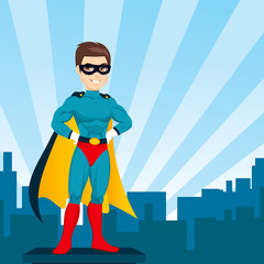 Illustration of powerful strong man hands on hips pose with superhero costume watching city skyline