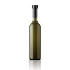 Tall glass wine bottle.