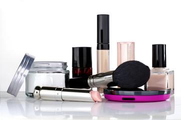 Cosmetics set in pink tones