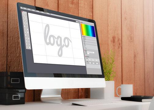 modern workspace with computer graphic design