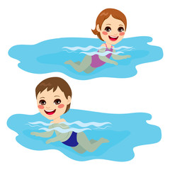 Baby boy and baby girl swimming alone happy