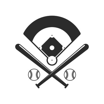 Baseball icons. Field, bals and baseball bats in flat style isolated on white background