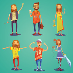 Subculture Hipster People Cartoon Figures Set