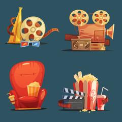 Cinema Movie Retro Symbols Cartoon Set