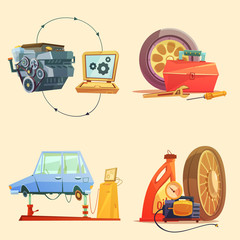 Auto Service Retro Cartoon Icon Set