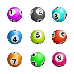 Vector illustration of bingo balls. Isolated on white background.