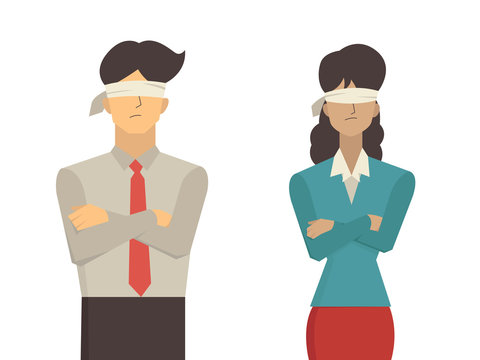 man and woman blindfolded