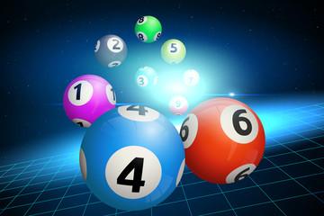 Bingo Balls on a Blue Background. Vector illustration