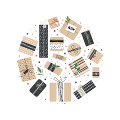 Set of different boxes of Kraft in the circle. Illustrations courtesy of packages for the holiday. It can be used as a print for bags or fabric.