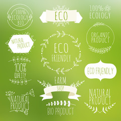 Collection of green labels and badges for organic, natural, bio